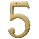 Non-Lacquered Brass House Number 5