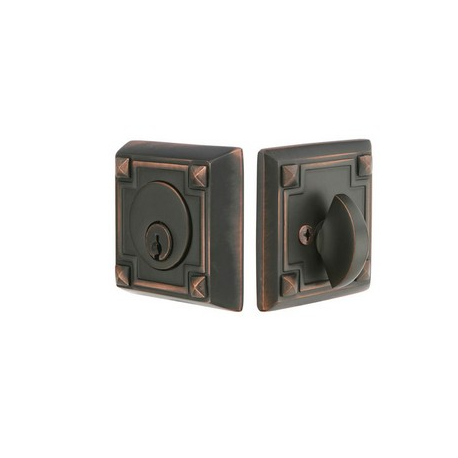 Arts & Crafts Single Cylinder Deadbolt Oil Rubbed Bronze